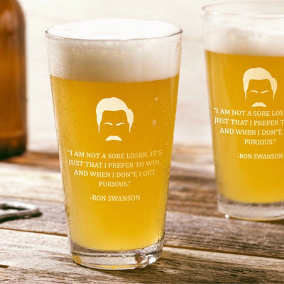 "Ron Swanson - ""Sore Loser"" - Parks and Rec Pint Glass Set of 2"