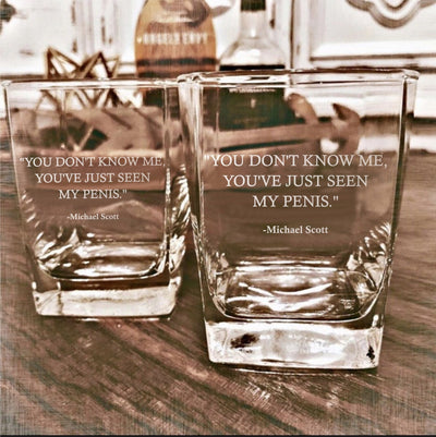 "Michael Scott - ""You Don't Know Me"" - The Office D.O.F Whiskey/Bourbon/Scotch Set of 2 (Round or Square)"
