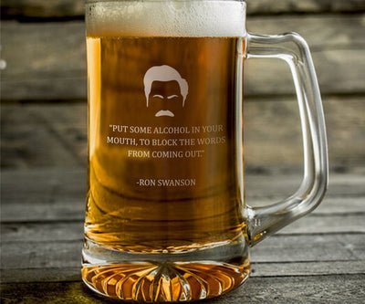 "Ron Swanson ""Put Alcohol In Your Mouth"" - Parks and Rec Engraved Beer Mug"