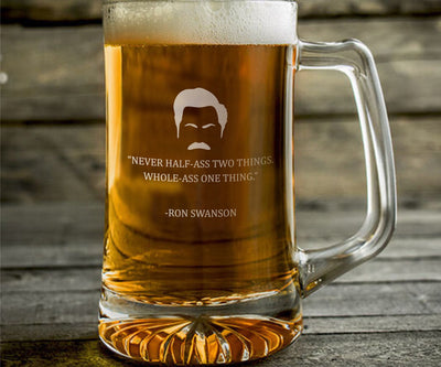 "Ron Swanson ""Never Half Ass"" - Parks and Rec Engraved Beer Mug"
