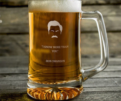 "Ron Swanson ""I Know More"" - Parks and Rec Engraved Beer Mug"