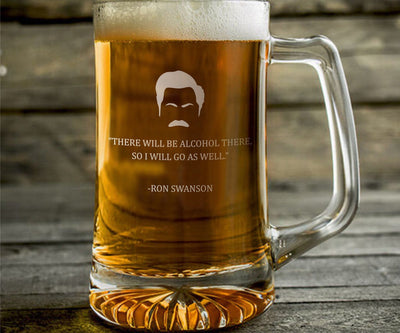 "Ron Swanson ""There Will Be Alcohol"" - Parks and Rec Engraved Beer Mug"