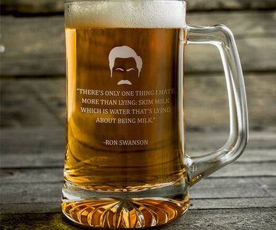 "Ron Swanson ""Skim Milk"" - Parks and Rec Engraved Beer Mug"