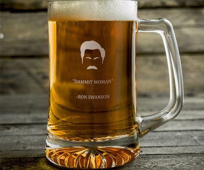 "Ron Swanson ""Dammit Woman"" - Parks and Rec Engraved Beer Mug"