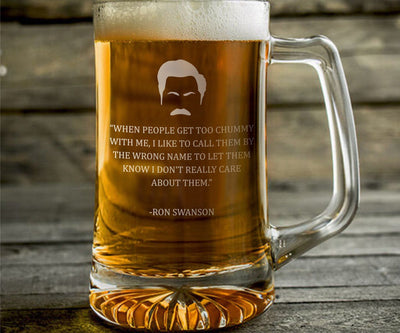 "Ron Swanson ""Chummy"" - Parks and Rec Engraved Beer Mug"