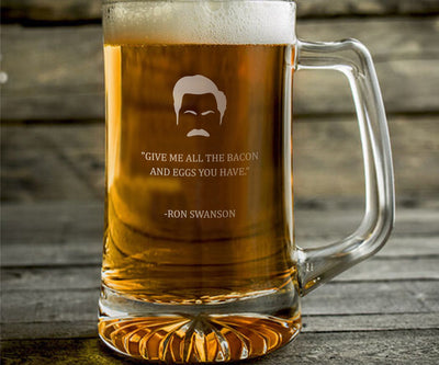 "Ron Swanson ""Give Me All The Bacon"" - Parks and Rec Engraved Beer Mug"