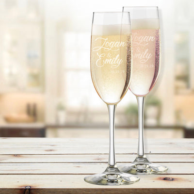 Bride & Groom (Design 2) Personalized Champagne Flutes Set of 2