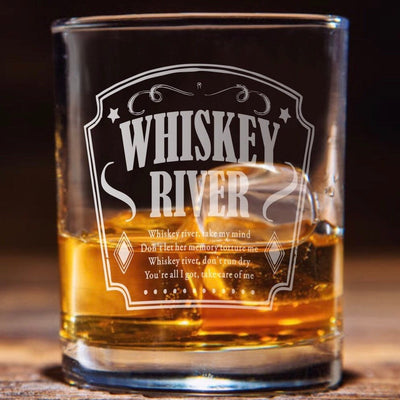 Whiskey River Lyric Glasses Etched Set