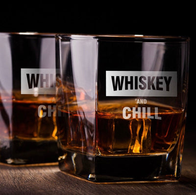 Whiskey & Chill Glasses Set - Old Fashioned Whiskey/Bourbon/Scotch Set of 2 (Round or Square)