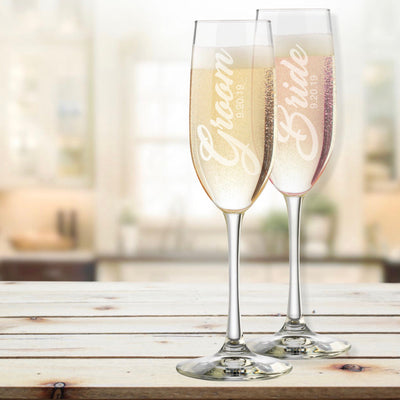 Bride & Groom Personalized Champagne Flutes Set of 2