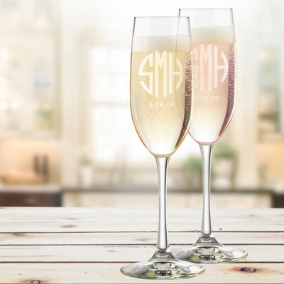 Bride & Groom Monogrammed (Round Monogram) Personalized Champagne Flutes Set