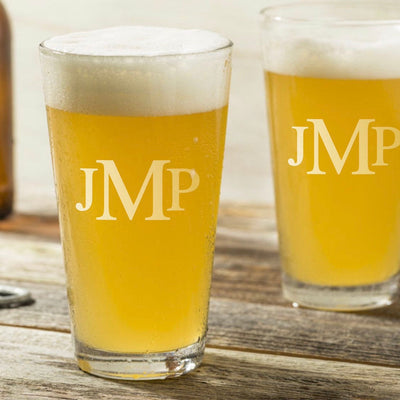 Monogrammed Engraved Pint Glass set