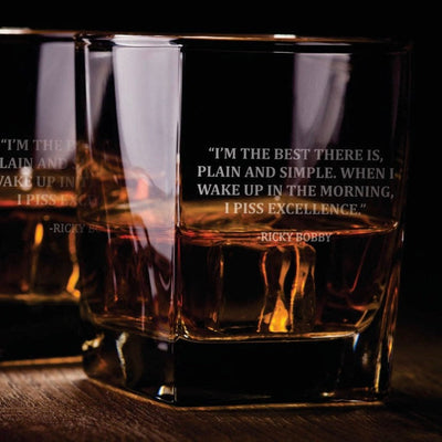 "Ricky Bobby Quote ""P*ss Excellence"" - D.O.F Whiskey/Bourbon/Scotch Set of 2 (Round or Square)"