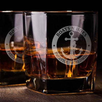 Boats and Hoes Whiskey Glass Set