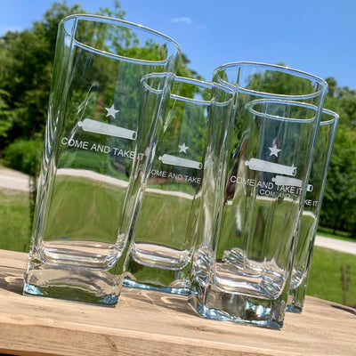 Come and Take It engraved glass tumbler set of 4 (can be personalized )