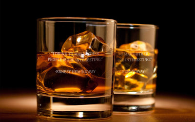 Ernest Hemingway Quote (I Drink) - D.O.F Whiskey/Bourbon/Scotch Set of 2 (Round or Square)