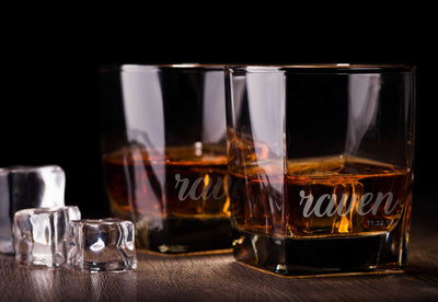 Personalized Name Engraved Whiskey Glass Set