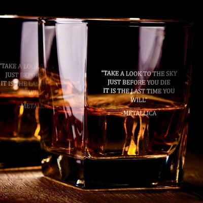 For Whom The Bell Tolls Lyric Glasses Set - Old Fashioned Whiskey/Bourbon/Scotch Set of 2 (Round or Square)