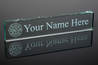 Fireman Fire Dept. Jade Glass Desk Name Plate - Engraved & Personalized - Perfect for Executives, Boss Day, Graduates, etc...