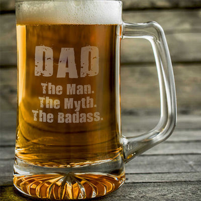 DAD The Man The Myth The Badass Engraved Beer Mug