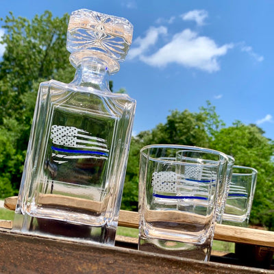 Thin Blue Line Distressed Flag Engraved Whiskey Decanter Set