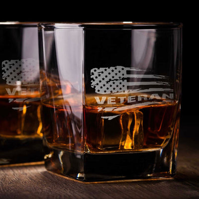 Veteran American Flag - D.O.F Whiskey/Bourbon/Scotch Set of 2 (Round or Square) United States Veteran Etched Glassware