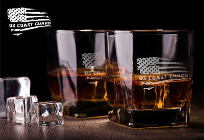 Coast Guard American Flag Whiskey Glass Set