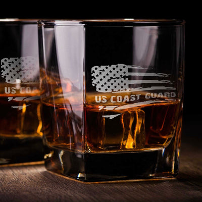 Coast Guard American Flag - D.O.F Whiskey Set of 2