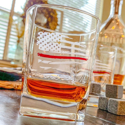 Thin Red Line Distressed American Flag Whiskey Glass Set