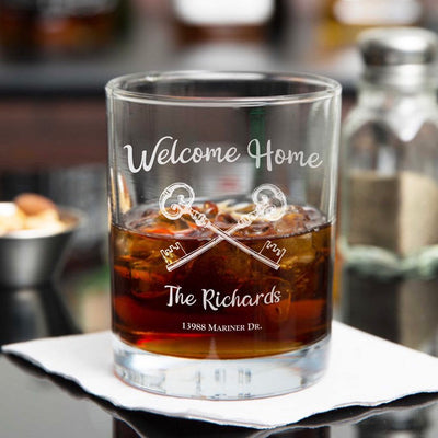 Welcome Home Engraved Persoalized D.O.F. Whiskey or Scotch Glass Set of 2 - Realtor Gift for New Homeowners (Square or Round)