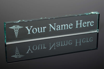 Medical Doctor Jade Glass Desk Name Plate - Engraved & Personalized - Perfect for Executives, Boss Day, Graduates, etc...