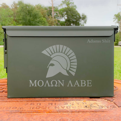 Ammo Box Molon Labe - Custom Engraved Personalized .50 Cal Box
