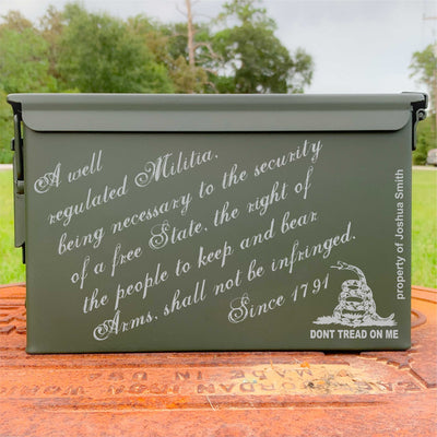 Ammo Box - Second Amendment - Custom Engraved Personalized .50 Cal Box