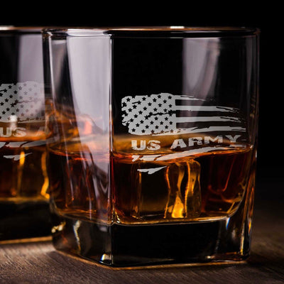 Army American Flag Whiskey Glass Set