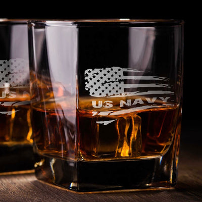 Navy American Flag Whiskey Glass Set