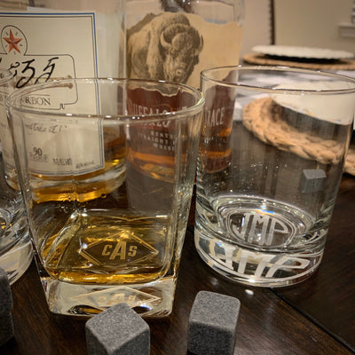 Monogrammed Whiskey Glasses Set (Diamond Monogram)