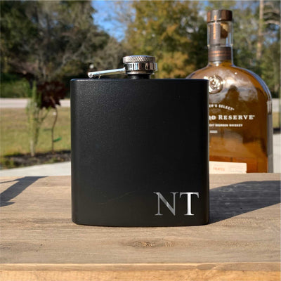Monogrammed Flask - Laser Etched - Small Corner Initials