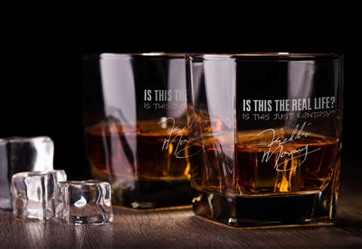 Freddie M Bohemian R Glasses Set - Old Fashioned Whiskey Bourbon Scotch Set of 2 (Round or Square)