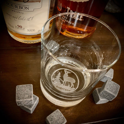 Buck Personalized Whiskey Glasses Set Bottom Engraving