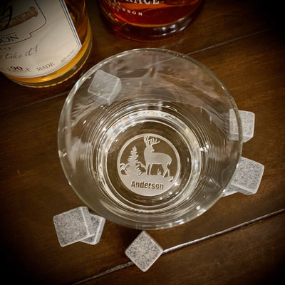 Buck Scene Personalized Whiskey Glass Set Bottom Engraving
