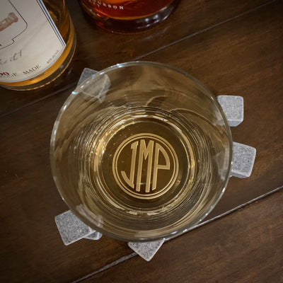 Monogrammed Whiskey Glasses Set (Circle Monogram)