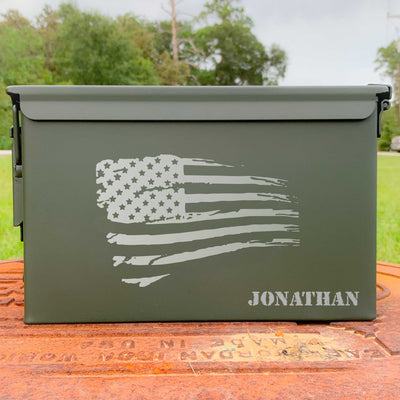 Ammo Box - Tattered American Flag - Custom Engraved Personalized .50 Cal