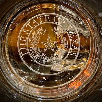 Texas State Seal - Double Old Fashioned Whiskey Bourbon Scotch Set of 2 (Round or Square) Bottom Engraving