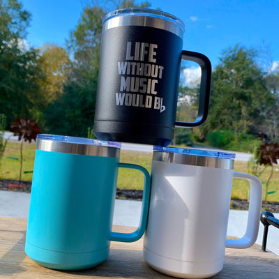 Musical Quote Etched Stainless Powder Coated Coffee Mug with Lid - Life Without Music Would B Flat