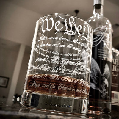 The Constitution of the U.S - Whiskey, Bourbon Scotch Single Glass 360 degree Engraving Round Bourbon Glass