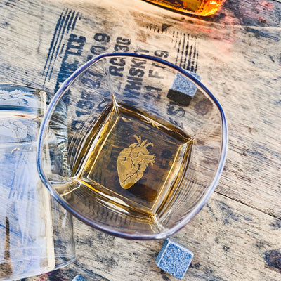 Anatomical Heart Whiskey Glasses Set of 2 - Old Fashioned Whiskey Bourbon or Scotch (Bottom Engraving)