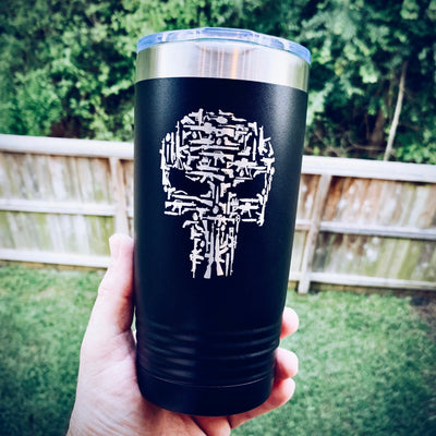 Punisher Skull Guns Etched Insulated Powder Coated Tumbler