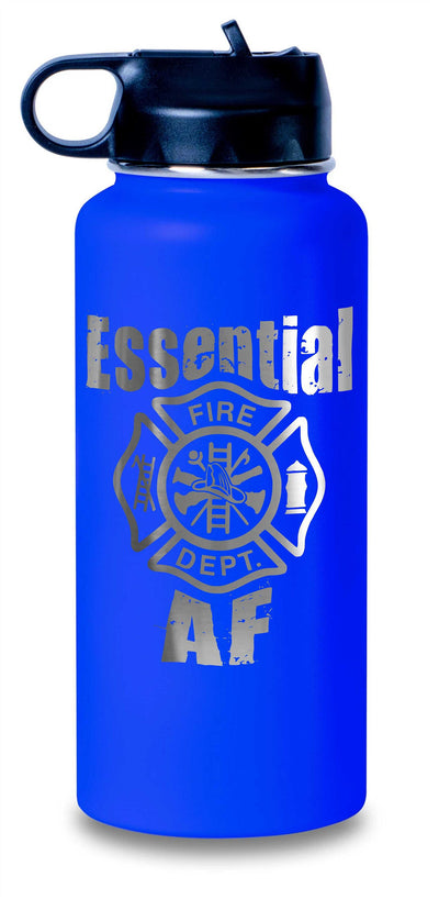 Hydro Water Bottles 32 ounce Etched - Essential AF Firefighter - Hydro Water Flask Style