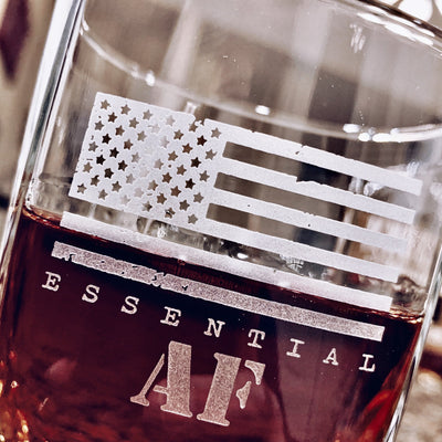 Essential AF American Flag Engraved - D.O.F Whiskey / Bourbon / Scotch Set of 2 (Round or Square)