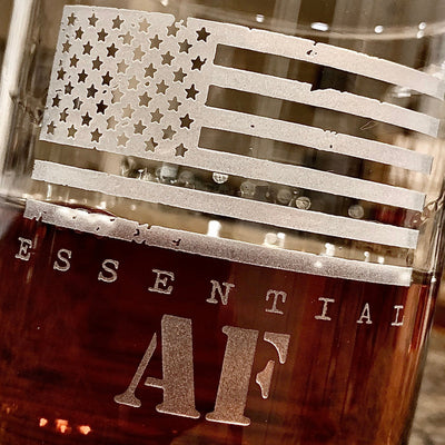 Essential AF American Flag Whiskey Glass